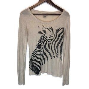 Lucky Brand Small women's long sleeve top zebra